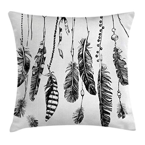 """Ambesonne Ethnic Throw Pillow Cushion Cover, Simplistic Hand Drawn Design of Feathers with Grunge Inspired Details Art Print, Decorative Square Accent Pillow Case, 18"""" X 18"""", Black"""
