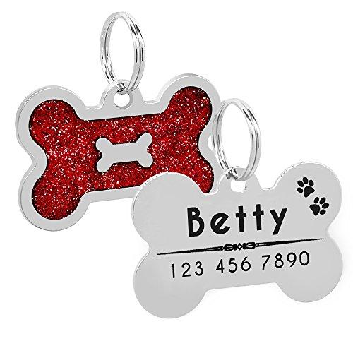 Bone Pink Glitter (PET ARTIST Personalized Dog Tags Bling Glitter Bone ID Tag for Pets Medium Large Breed Dog)