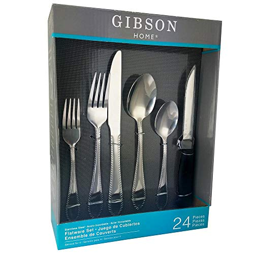 Gibson Spoon Stainless Steel (Wilmington 24-Piece Stainless Steel Flatware Set)