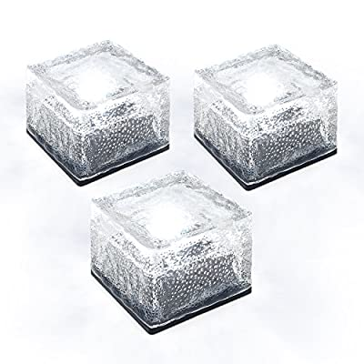 TECBOX Solar Ice Rocks LED Brick Landscape Light 4x4 Size Glass Waterproof Path and garden solar lights- Multi Color(Set of 3)
