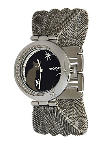 Moog Paris Lucille Women's Watch with Black Dial, Silver Stainless Steel Strap & Swarovski Elements - M44914-001