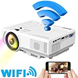 WiFi Mini Projector, Jinhoo 2019 Newest 1080P Supported, 2600 Lux HD Home Theater Projector with 176'' Projector Size, 50000 Hours Lamp Lifetime, Compatible with TV Stick, HDMI, USB, SD, VGA