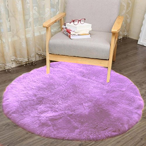 Price comparison product image Faux Fur Throw Rug Round Sheepskin Area Rug Anti-Skid Plush Elegant Super Soft Floor Mat 3030CM for Home Living Bedroom Sofa Floor Carpet