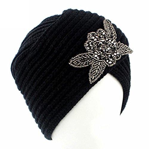 Crystal Skull Hat (Hunputa Womens Hat Winter, Women's Turban Hat With Crystal Vintage Head Wrap Knit Pleated Turban (Black))