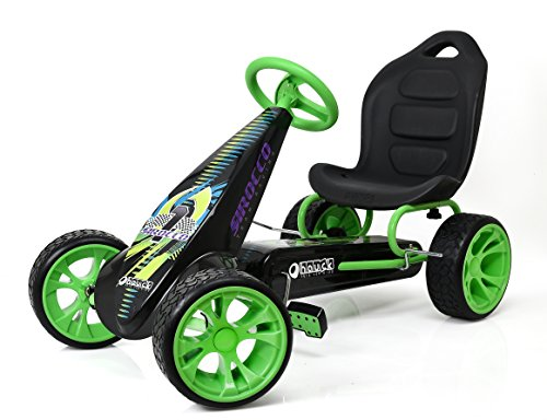 - Hauck Sirocco - Racing Go Kart | Pedal Car | Low Profile Rubber Tires | Pedal Power auto-Clutch Free-Ride | Adjustable seat - Green