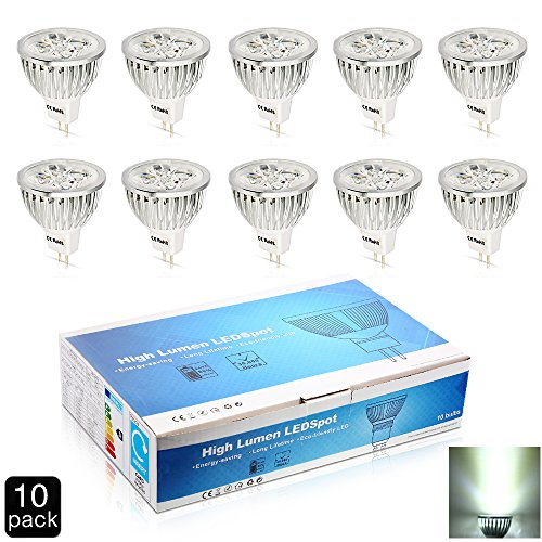Elinkume 5W GU5.3 Base MR16 LED Bulb, DC12V, 3000K Warm White, LED Spotlight, 400 Lumen 60 Degree Beam Angle Non-Dimmable 50Watt Equivalent Light Bulbs(10 Pack)