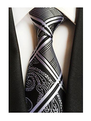 Secdtie Men's Classic Black Jacquard Woven Silk Tie Microfiber Formal Necktie