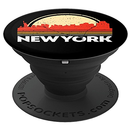 Classic Retro New York Grip Vintage USA Flag NY City Skyline - PopSockets Grip and Stand for Phones and Tablets ()