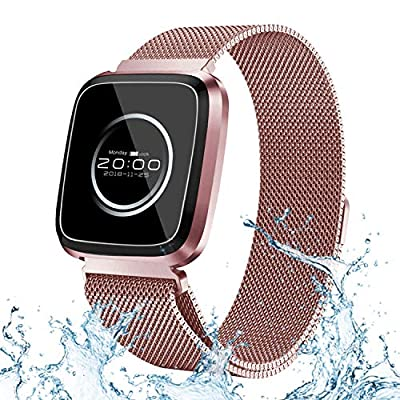 Sports Smart Bracelets Watch Fitness Tracker for Women Men 240x240 IPS HD Screen IP68 Waterproof Heart Rate Blood Pressure Sleep Monitor Running GPS Tracker Metal Case Band for iOS Android Phones