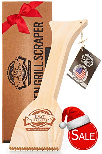 Easy Function Grill Scraper - Wooden BBQ Grill Brush Cleaner Alternative - Uses Powerful QuicKClean Technology to Faultlessly Clean On Top & Between Grates for a 100% Shiny Bristle Free Grill