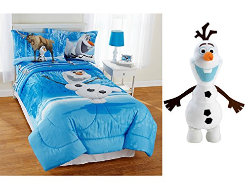 Disney Frozen Olaf Full Size Reversible Bed in a Bag 5-Piece Bedding Set with Disney Frozen Olaf Pillow Buddy