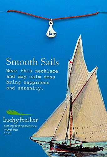 Lucky Feather Pretty Moon Necklace Silver - Sailboat, 1 Each