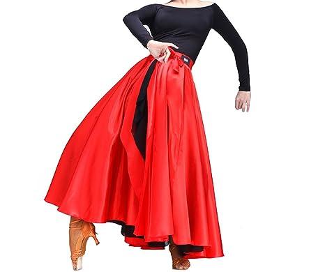 sholind para mujer Latin danza vestido de satén de dos capas – Español Flamenco disfraz falda