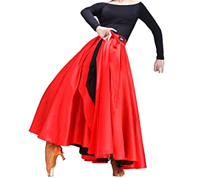 933ff2e872a8 Image Unavailable. Image not available for. Color: SHOLIND Womens Latin  Dance Two Layer Satin Dress Bandage Spanish Flamenco Costume Skirt Red