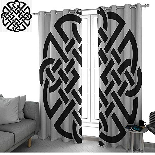 bybyhome Celtic Decor Collection Window Curtains for Living Room Celtic Pattern Ancient Scottish Knights Medieval Design Decorative Art Illustration Drapes Panels Black White W120 x L84 Inch