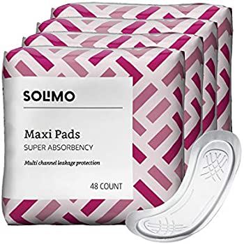 Amazon Brand - Solimo Thick Maxi Pads for Periods, Super Absorbency, Unscented, 192 Count (4 packs of 48)
