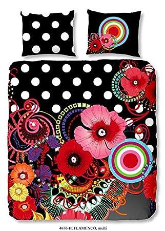 Mako Satin Digitaldruck Bettwäsche 2 teilig 135 x 200 80 x 80 cm bunt Blumen
