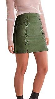 Minetom Mujer Chicas Ante Cintura Alta Delgado Bandas Minifalda Primavera  Verano Moda Corto Vestidos Una línea 87b5e26855c8