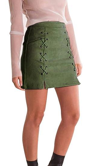 5ed53df94 Minetom Mujer Chicas Ante Cintura Alta Delgado Bandas Minifalda Primavera  Verano Moda Corto Vestidos Una línea Falda Mini Skirt