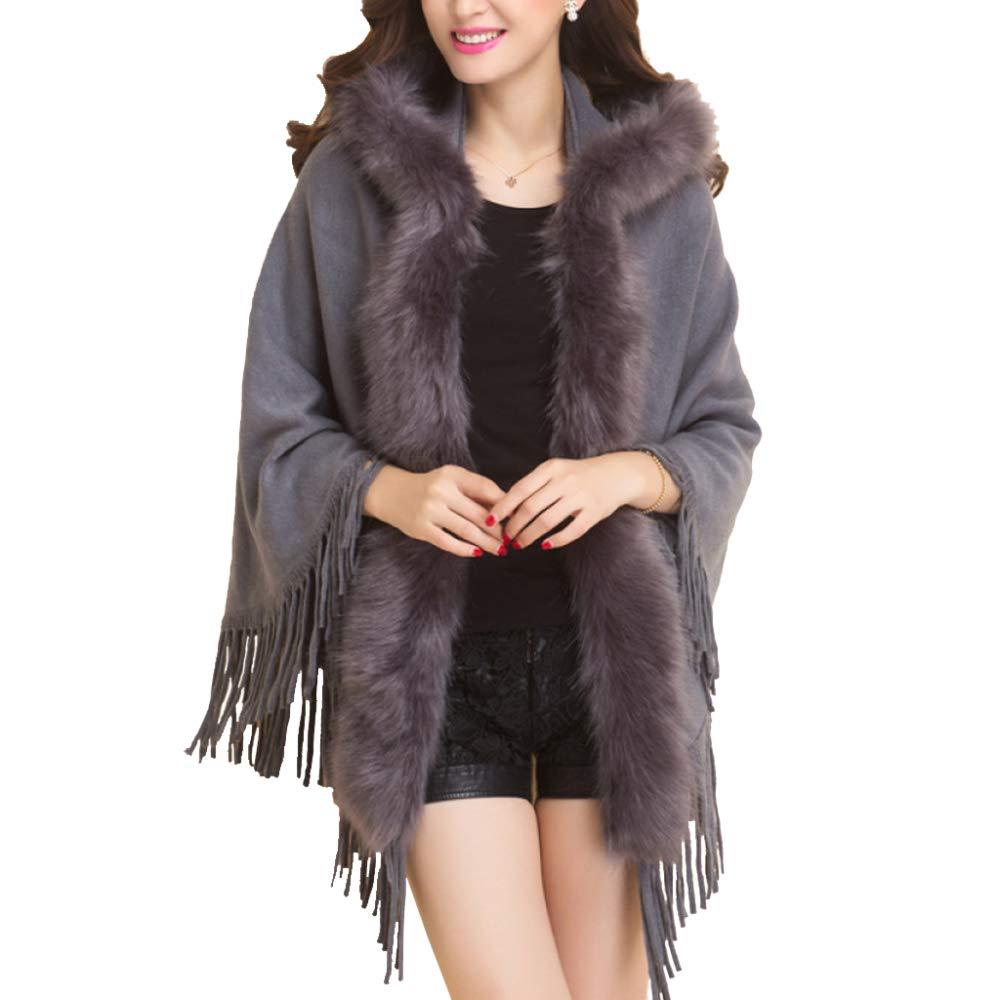 Grey LIULIFE Autumn Winter Women's Shawl Coat Fur Collar Hooded Tassel Knit Cape Poncho Sweater Cloak Coat