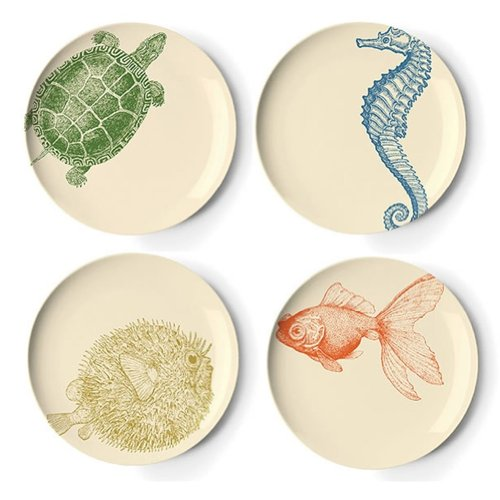 Thomas Paul Sea Life 9-Inch Side Plates, Set of 4 (Rattan Bowl Chair)