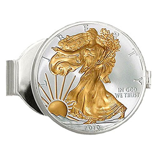 24k Gold Inlay - Pure Silver Eagle Dollar Money Clip with 24K Gold Inlay