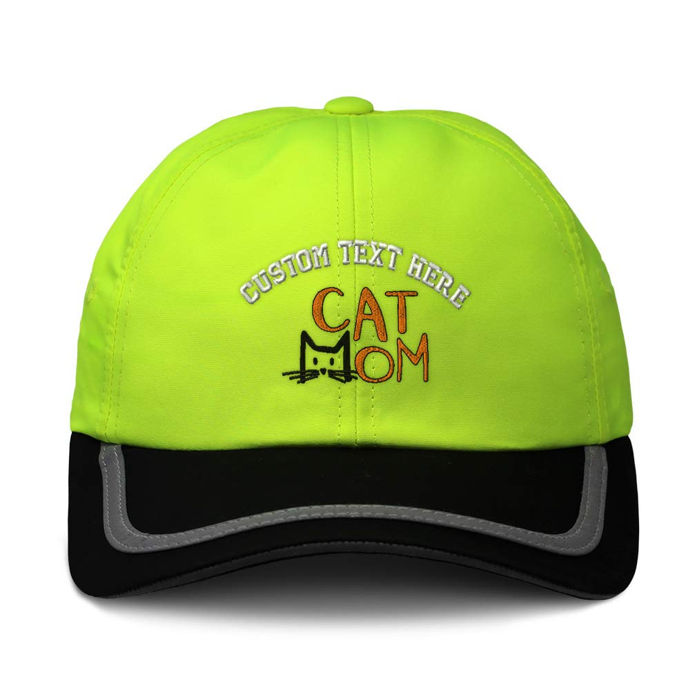 Custom Reflective Running Hat Cat Mom Head Orange Embroidery Polyester One Size