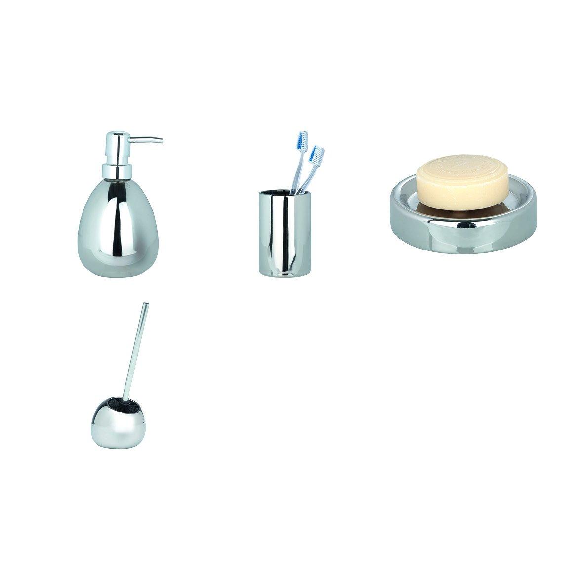 WENKO 20389100 WC-Garnitur Polaris Grey WC-B/ürstenhalter 15 x 34.5 x 14.5 cm Keramik Grau