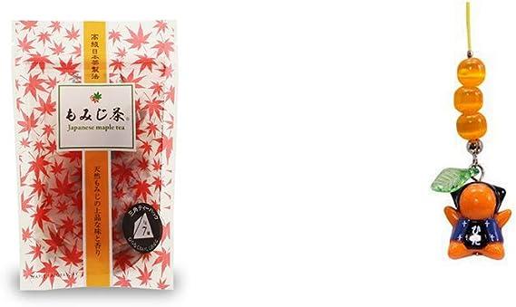 [2点セット] もみじ茶(7パック入)・さるぼぼ癒しキャッツアイ 【黄(※さるぼぼはオレンジ)】/ ストラップ 縁結び・魔除け //