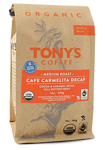 Tony's Coffee'Cafe Carmelita Decaf' Medium Roasted Fair Trade Organic Shade Grown Whole Bean Coffee - 12 Ounce Bag
