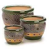 Summerfield Terrace Patio Planters, Ceramic Planter Pots, Ceramic Contemporary Jade Planter Trio