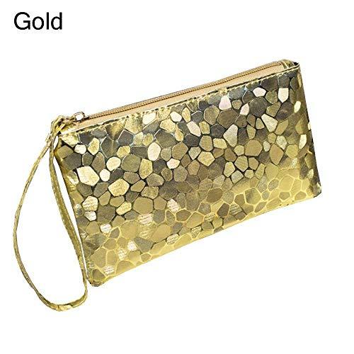 Fashion Wedding Purse Clutch Handbag PU Leather Long Card Holder Case Wallet (Color - gold)
