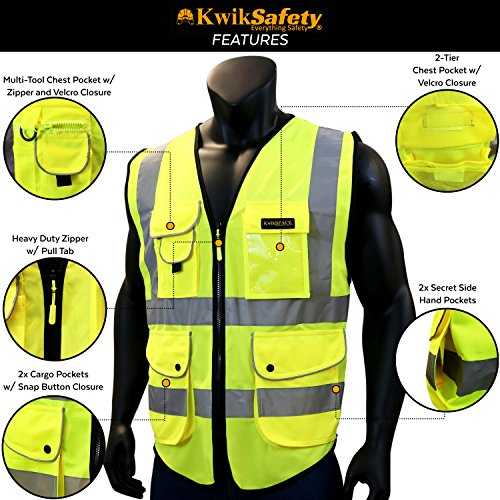 KwikSafety (Charlotte, NC) SUPERIOR (9 Pockets) Class 2 ANSI High Visibility Reflective Safety Vest Heavy Duty Mesh Zipper and Hi Vis Construction Surveying Engineering Work HiViz Men Yellow XX-Large by KwikSafety (Image #4)