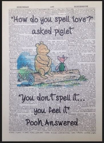 Winnie The Pooh Quote Print Vintage Dictionary Page Picture Wall Art Love Cute  sc 1 st  Amazon UK & Winnie The Pooh Quote Print Vintage Dictionary Page Picture Wall Art ...