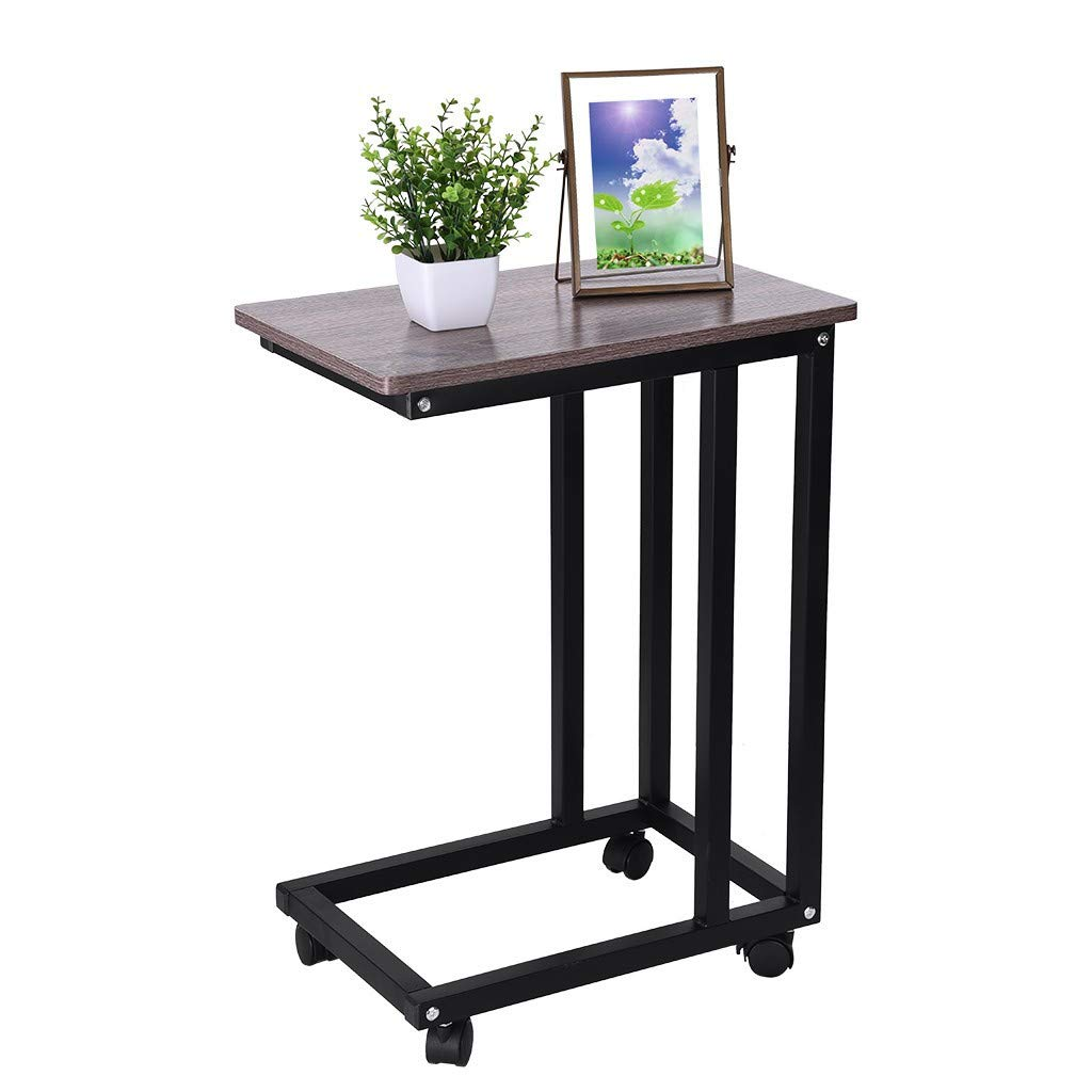 Multifunctional Nightstand Bed Side Table with Wheels,Moving Sofa Side Table,Computer Laptop Desk,Dining Table,End Table,Coffee Table,Wear-Resistant,Waterproof,25.6 x 18.9 x 11.8 inches