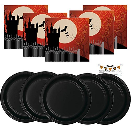 (Paper Plates Halloween Party Supplies Set Kit Premium Sturdy Disposable Dinnerware Frightful Night Gothic Haunted Spooky Napkins Plates & Recipe Pack Serves)