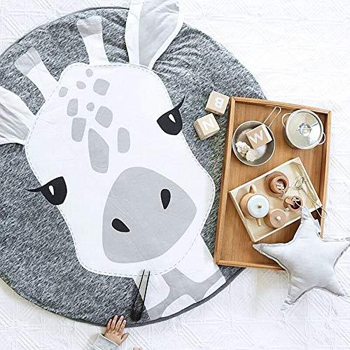 USTIDE Baby Rugs Creeping Crawling Mat Cartoon Sleeping Rugs, Children Anti-Slip Game Mat Cotton Floor Play Mat Blanket Play Environmental Carpet Kids Room Decor 37.4 x 37.4 Giraffe