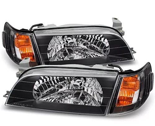 JX ACCESSORIES 93-97 Toyota Corolla Black JDM Version Headlights Amber Corner Signal Lamps - Corolla Toyota Headlights Corner
