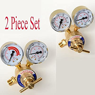 2PC Set Acetylene And Oxygen Regulators Dual Gauge Cutting Torch Regulators Portable Size