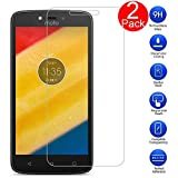 Kepuch Moto E4 Plus Screen Protector - 2 Pack Tempered Glass Film 9H Hardness Curved Edge Protection for Moto E4 Plus