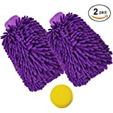#2: Bhivroga Car Wash Mitt/Wash Glove Pack Of 2,Extra Large Size Chenille Premium Microfiber,Scratch-Free,Lint-Free,Super Absorbent With 1 Pic Wax Foam Sponge