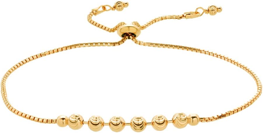D Jewelry 925 Sterling Silver Moon-Cut Beads Chain Sliding Tennis Bracelet Yellow Gold Plated