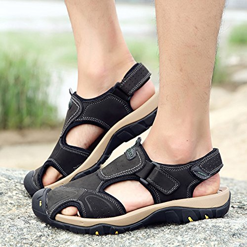 Xing Lin Sandalias De Hombre Sandalias De Verano Al Aire Libre Hombre De Gran Tamaño Baotou Neumático Transpirable Y Ligera Que Las Zapatillas De Playa Estilo Británico Zapatos De Hombre Casual 45 black
