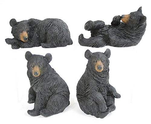 Set of 4 Black Bear Poses Assorted Resin Tabletop Figurines