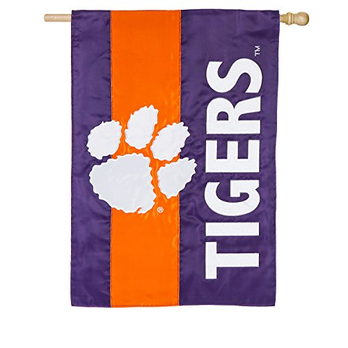 Team Sports America Clemson University Outdoor Safe Double-Sided Embroidered Logo Applique House Flag, 29 x 44 - Basketball University Clemson