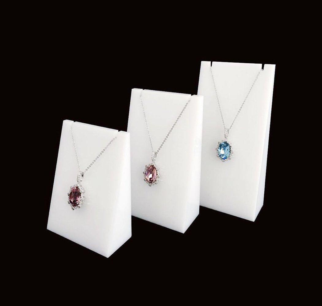Beautiful Classic White Plexi Acrylic Necklace Display Stands Trade Show Jewelry Sale Designer Exhibition Premium Grade Quality Modern Minimalist Concept Photo Props 3 PCs