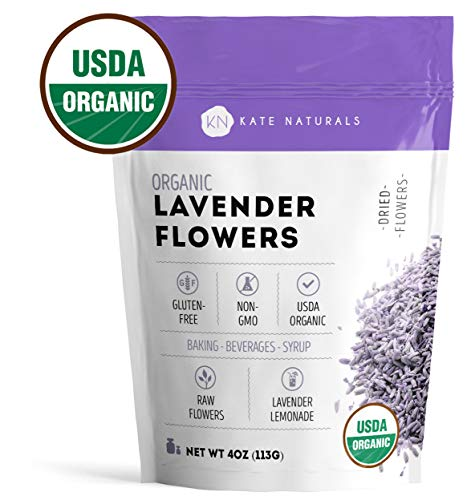 Organic Lavender Flowers - Kate Naturals. Premium Grade. Dried. Perfect for Tea, Lemonade, Baking, Baths. Fresh Fragrance. Large Resealable Bag. Gluten-Free, Non-GMO. (4 oz (Starter Size)) (Simple Bouquet Elegance)