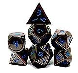 Dark Alpha Metal Polyhedral Dice Set for D&D, Starfinder, Pathfinder