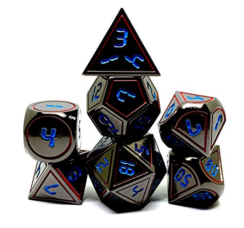 Dark Alpha Metal Polyhedral D&D Dice Set for RPGs