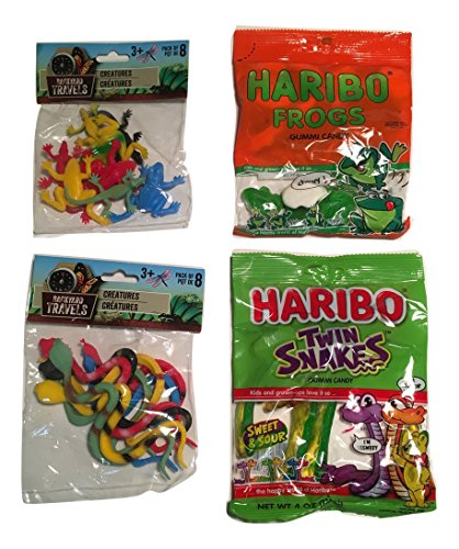 Gummy Candy- Chewy Frogs and Sweet, Sour Snakes; 8 Toy Snake, 8 Toy Frog; 4-pc